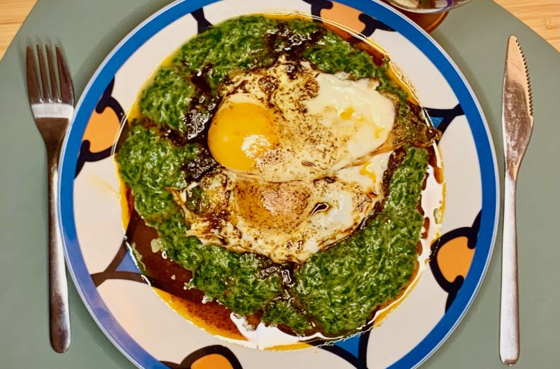 Спаначено пюре с яйца на очи